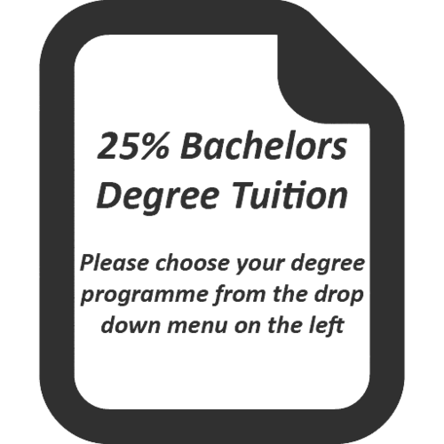 25% of the Tuition Fee for the following Academic Year (Bachelor's degree)